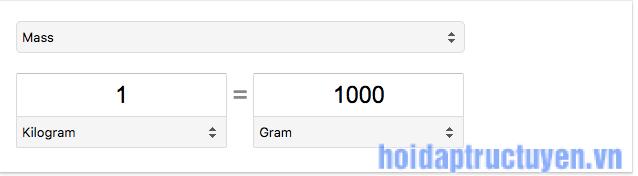 1kg = 1000g