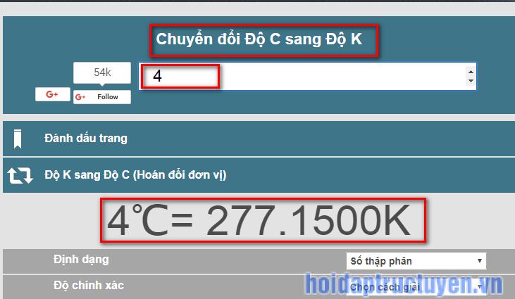 Đổi độ C sang độ K