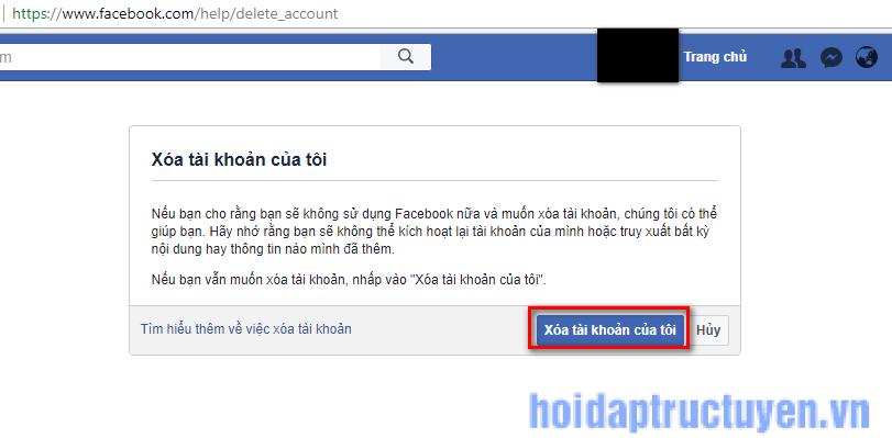 xoá tài khoản facebook vĩnh viễn