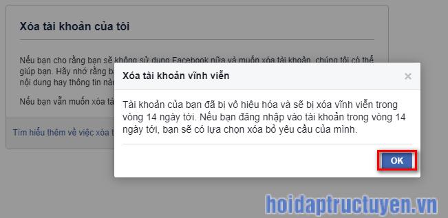 xoá tài khoản facebook