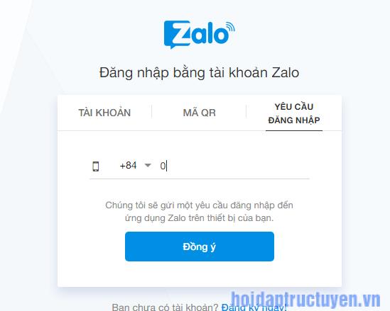 đăng nhập zalo web