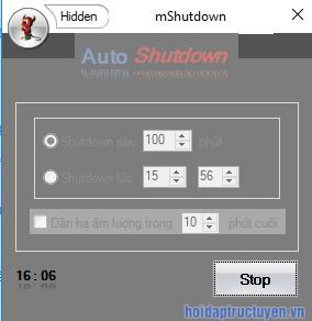 hẹn giờ tắt máy windows bằng phần mềm