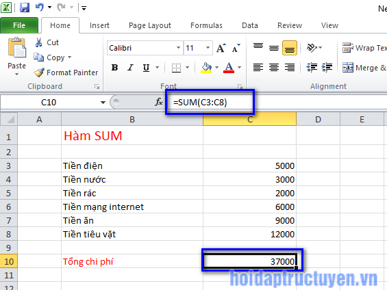 Hàm sum trong excel