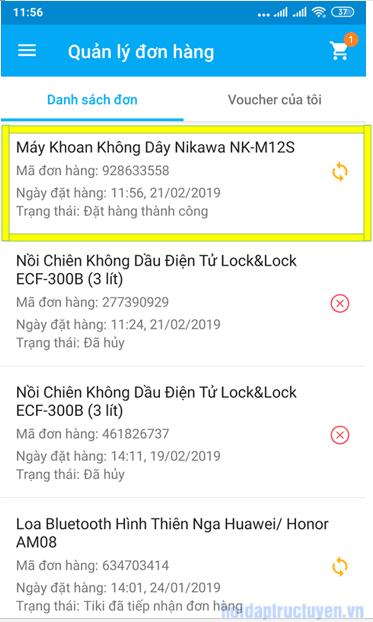 Cách hủy đơn hàng Tiki App