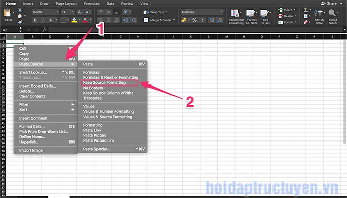 Cách copy paste giữ nguyên định dạng trong Excel