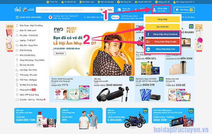 Cách đăng ký tài khoản trên Tiki.vn