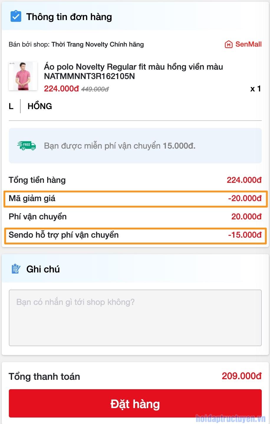 sử dụng mã giảm giá để đặt hàng Sendo
